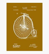 Bicycle - High Wheel - 1885 Nye Velocipede Patent Photographic Print
