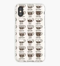 Coffee type recipe seamless pattern iPhone Case/Skin