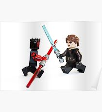Lego Star Wars minifigure Anakin Skywalker and Darth Maul are fighting with sword isolated on white background. Poster