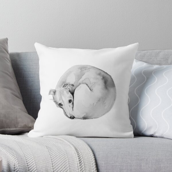 Whippet Curling Up To Sleep Throw Pillow