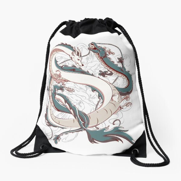 Japanese Dragons Drawstring Bag