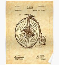 1885 Nye Velocipede Patent - Bicycle - High Wheel Poster
