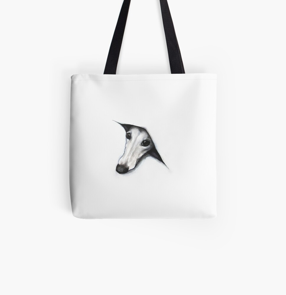 Peeping Whippet All Over Print Tote Bag