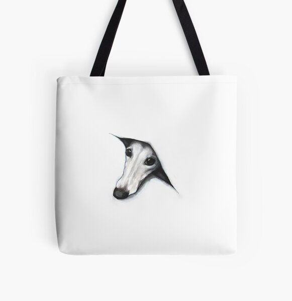 Peeping Whippet Allover-Print Tote Bag