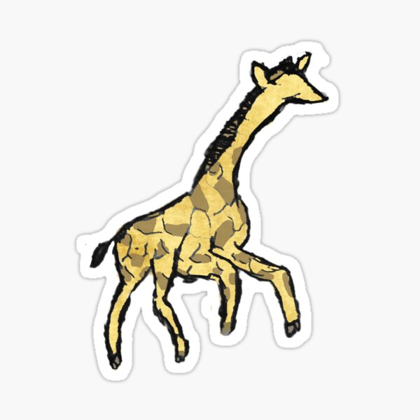 Minimalist Giraffe Ink Drawing Watercolor Sticker