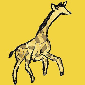Minimalist Giraffe Ink Drawing Watercolor by cephasgarrett