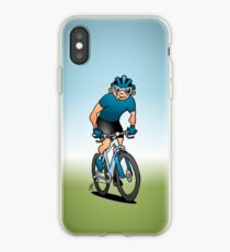 MTB - Mountain biker on his moutainbike iPhone Case