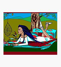 Native America Lady with Dream Catcher Photographic Print