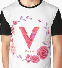 Floral Letter V Graphic T-Shirt