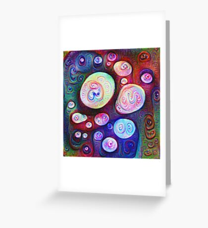 #DeepDream bubbles on frozen lake 5x5K v1450615886 Greeting Card