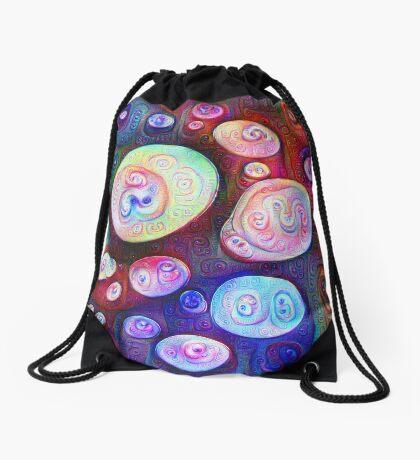 #DeepDream bubbles on frozen lake 5x5K v1450615886 Drawstring Bag