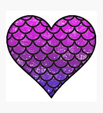 Glittery Mermaid Scale Heart Photographic Print