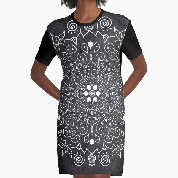 Mandala Deep Grey and White Graphic T-Shirt Dress