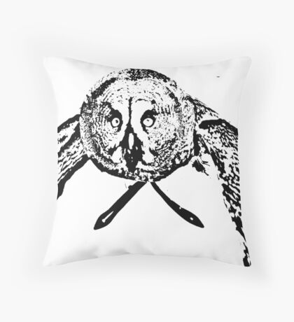 Owl in flight, black and white Throw Pillow