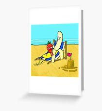 Strawberry And Banana On Vacation Greeting Card