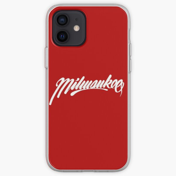 Milwaukee, WI - White on Red hand script writing design iPhone Soft Case