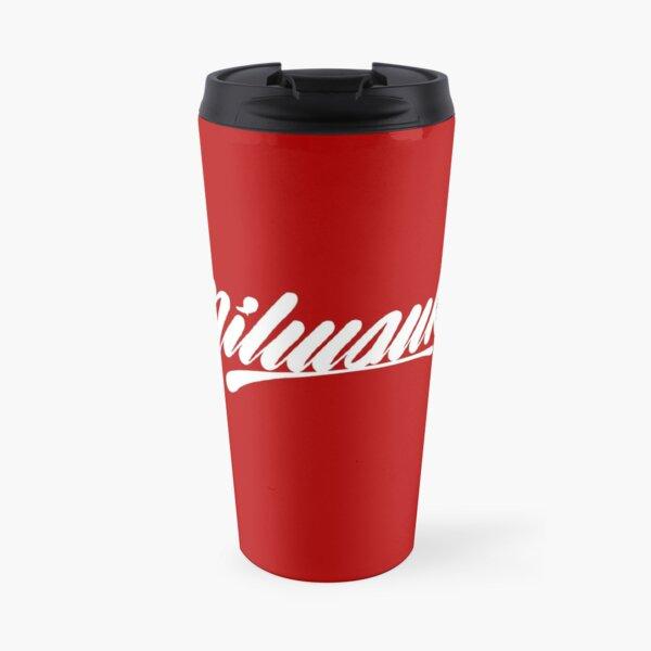 Milwaukee, WI - White on Red hand script writing design Travel Mug