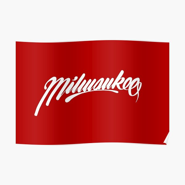 Milwaukee, WI - White on Red hand script writing design Poster