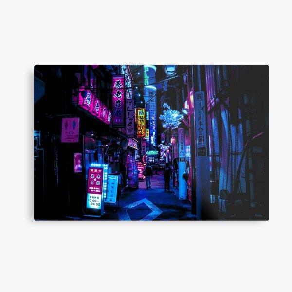 Blue Tokyo Alleys Metal Print