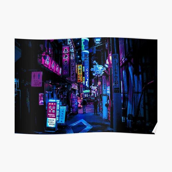 Blue Tokyo Alleys Poster