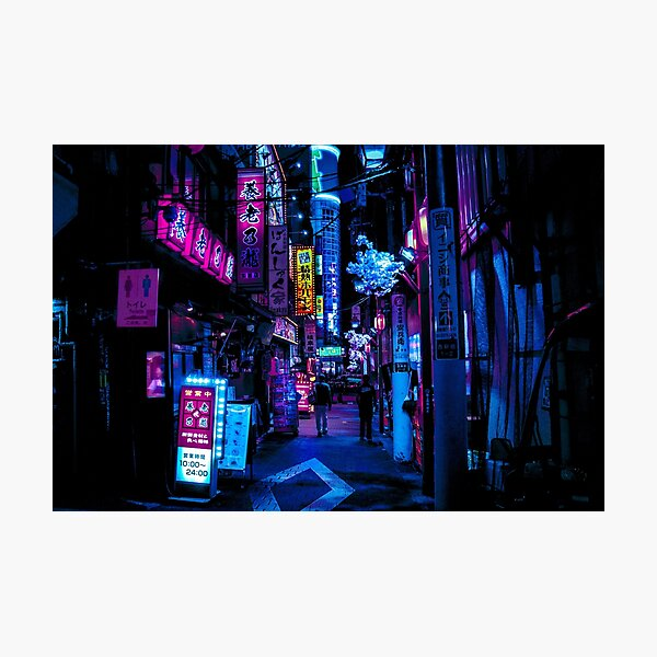 Blue Tokyo Alleys Photographic Print