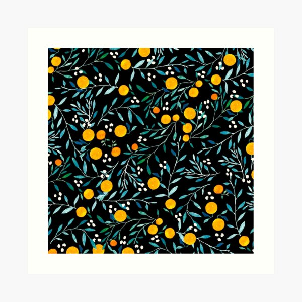 Oranges on Black Art Print