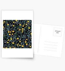 Orangen auf Schwarz Postkarten