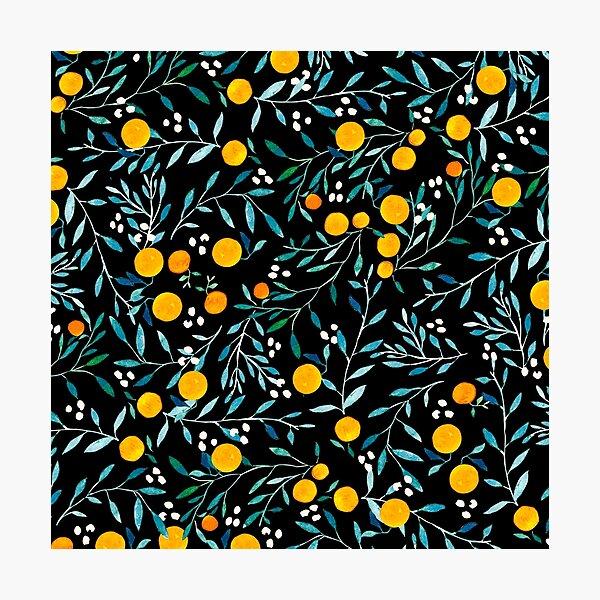 Oranges on Black Photographic Print