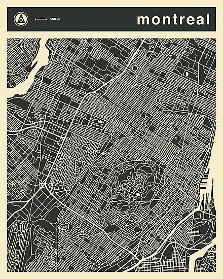 MONTREAL MAP by JazzberryBlue