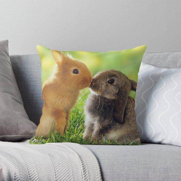 Download Kissing Rabbits Pillows Cushions Redbubble