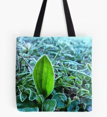 Hoarfrost on the plants. Acrylic painting Tote Bag