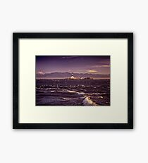 Race Rocks Lighthouse beautiful dramatic sunset scenery Vancouver Island art print Framed Print