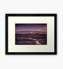 Race Rocks Lighthouse beautiful dramatic sunset scenery Vancouver Island art print Framed Print