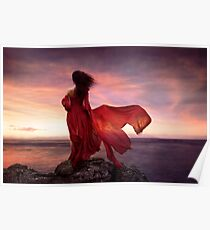 Woman in red dress flying in the wind looking at the ocean in sunset art print Poster