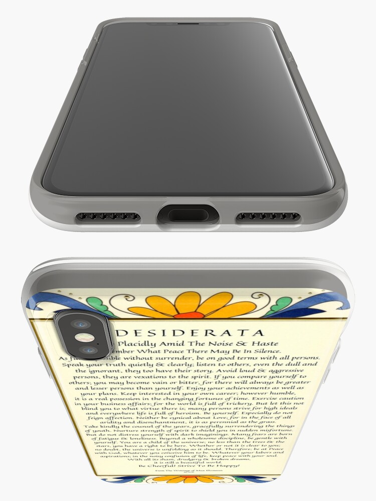 Alternate view of Desiderata Poster with Art Deco Floral Border iPhone Case & Cover