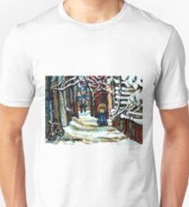 SHOVELLING AFTER THE SNOWSTORM MONTREAL CITY SCENE T-Shirt