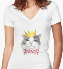Cat wiith Crow Women's Fitted V-Neck T-Shirt