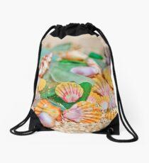 Sunrise Shells & Sea Glass Drawstring Bag