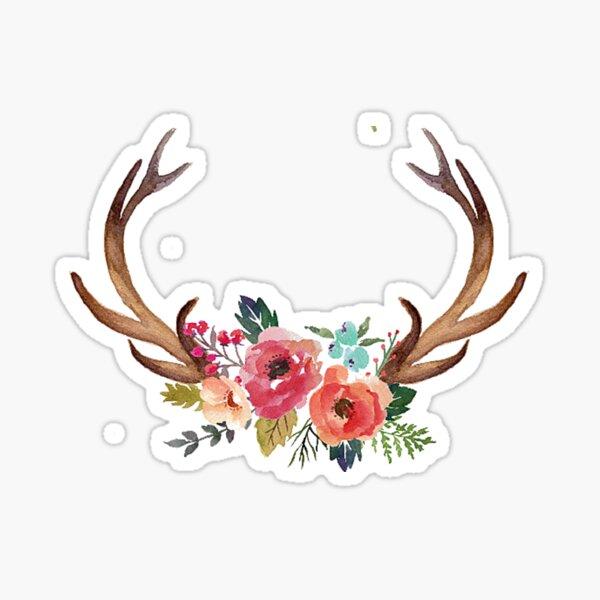 Floral Antlers Sticker
