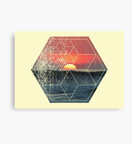 Nature and Geometry - Lovely Sunset at Sea Canvas Print