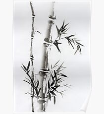 Bamboo stalk with leaves Sumi-e rice paper Zen painting artwork art print Poster