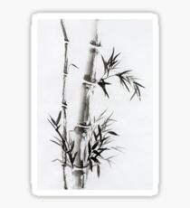 Bamboo stalk with leaves Sumi-e rice paper Zen painting artwork art print Sticker