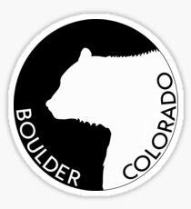 BOULDER COLORADO BEAR SKIING MOUNTAINS BLACK WHITE Sticker