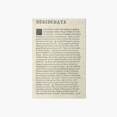The Original Desiderata Poster by Max Ehrmann Art Board Print