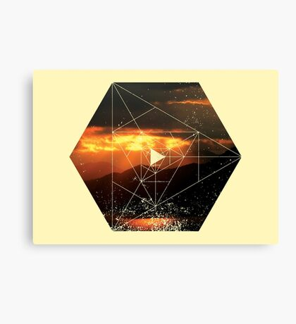 Nature and Geometry - Sunset and Mountains Canvas Print