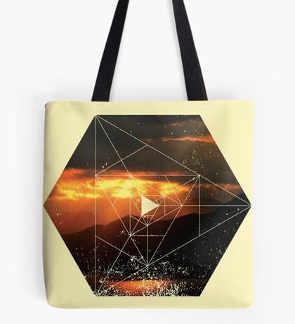 Nature and Geometry - Sunset and Mountains Tote Bag