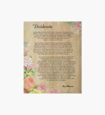 Desiderata Poem on Wood Plank with Floral Accent Art Board