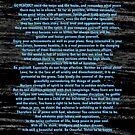 Blue Desiderata Etching on Space Dust Black Marble by Desiderata4u
