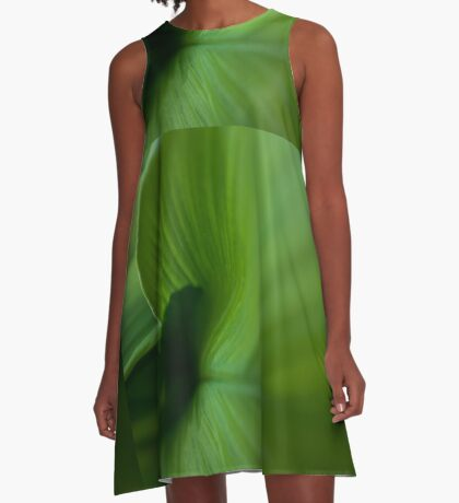 Wave of Green A-Line Dress