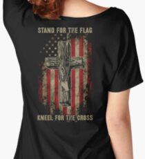 Stand for the flag. Kneel for the cross. Women's Relaxed Fit T-Shirt
